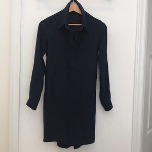 High low navy silk dress